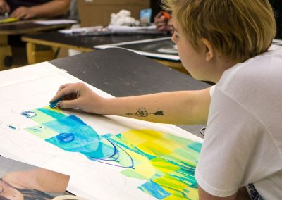 Drawing color portrait in class at Skagit Valley College, 2017