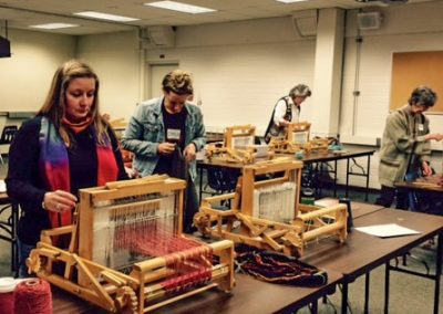 Weaving in a class of the Community Education Program at Skagit Valley College, 2017