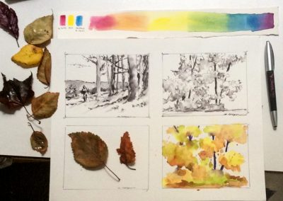 Watercolor Sketching class in the Community Education Program at Skagit Valley College, 2017