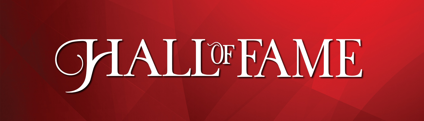 Hall of Fame logo on a red background