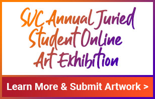 Colorful type treatment for SVC Annual Juried Student Online Art Exhibition