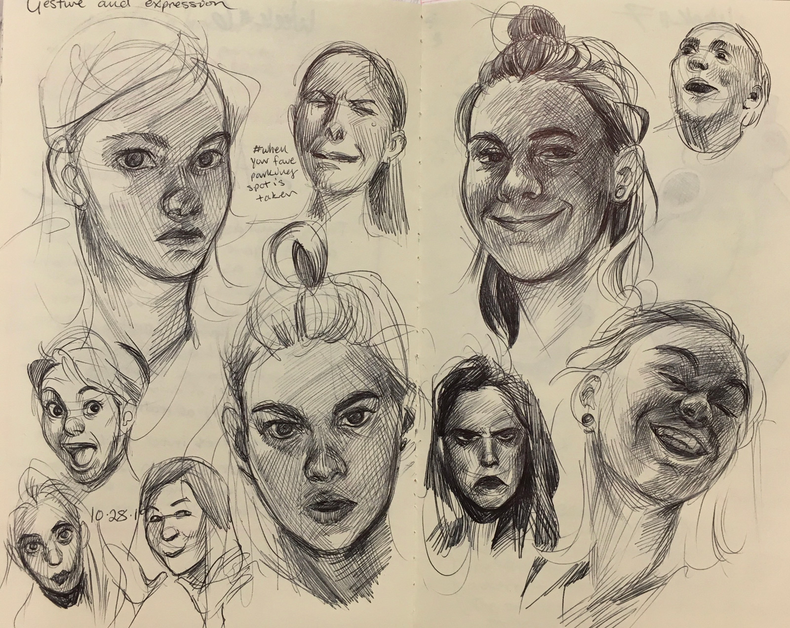Facial expressions studies in ink on paper by SVC art student