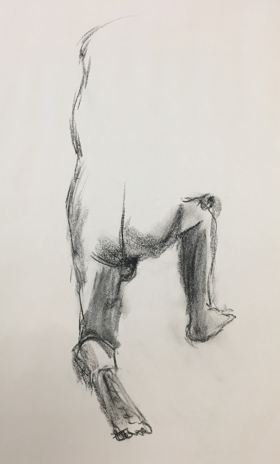 Gesture drawing of a make figure in charcoal on paper by an SVC art student
