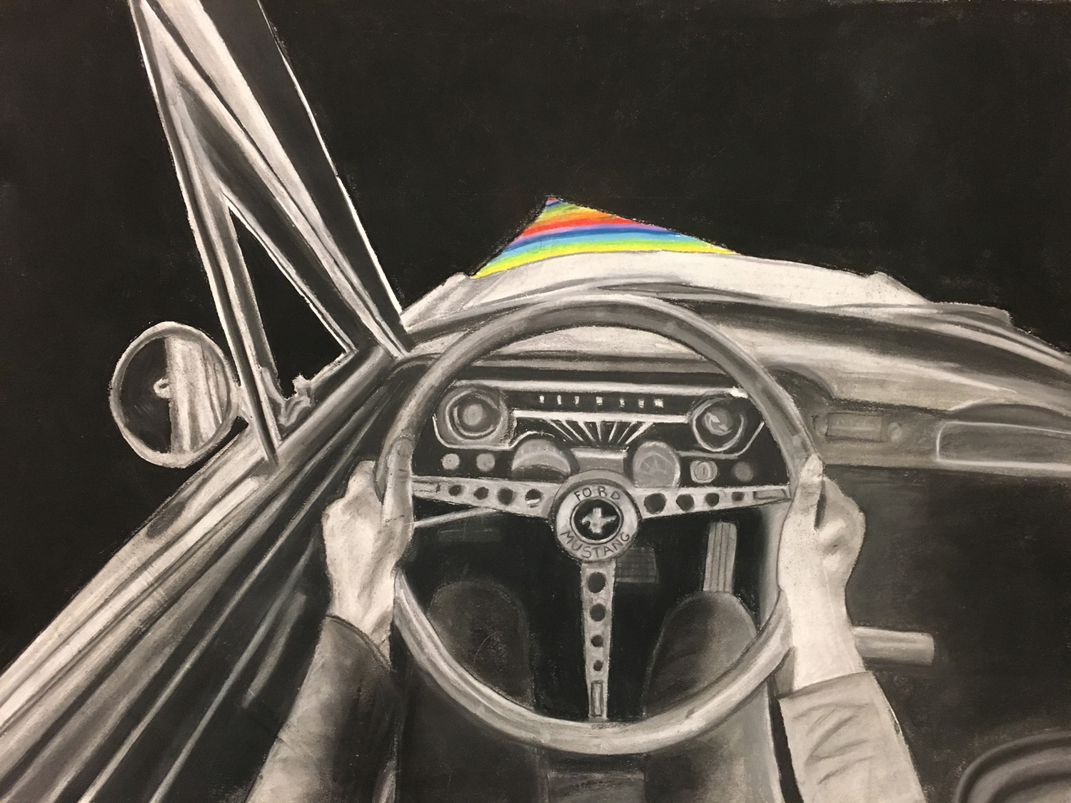 Point of view charcoal drawing of a person driving a car at night