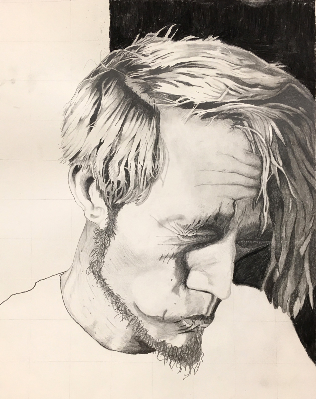 Self-portrait in charcoal on paper by an SVC art student